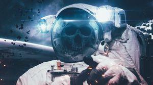 Превью обои космонавт, скафандр, череп, космос, скелет