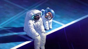 Превью обои космонавт, скафандр, грусть, собака, арт