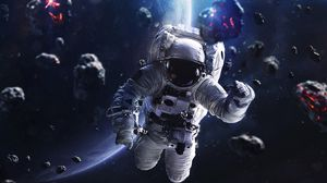 Превью обои космонавт, скафандр, метеориты