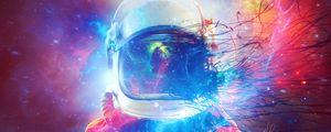 Превью обои космонавт, скафандр, разноцветный, космический