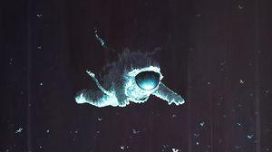Превью обои космонавт, скафандр, свет, стрекоза, насекомые, арт