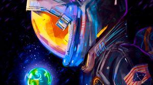 Превью обои космонавт, скафандр, земля, планета, арт