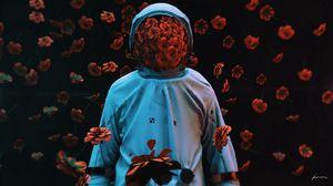 Превью обои космонавт, цветы, скафандр, гравитация, 3d