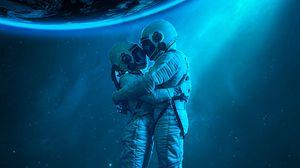 Превью обои космонавты, объятия, любовь, космос