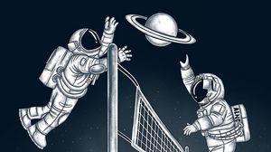 Превью обои космонавты, волейбол, планета, космос, арт