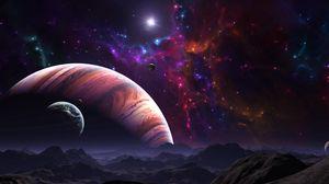 Превью обои космос, открытый космос, планеты, арт, разноцветный