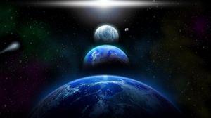 Превью обои космос, парад планет, ряд, комета, свет