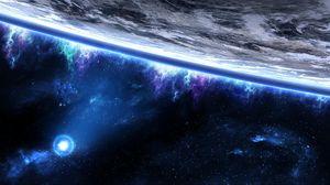 Превью обои космос, планета, орбита, крупный план, звезды
