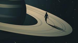 Превью обои космос, планета, сатурн, юпитер, звезды