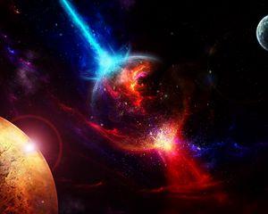 Превью обои космос, планеты, взлет, взрыв