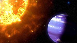 Превью обои космос, солнце, планета, излучение, энергия, тень, звезды