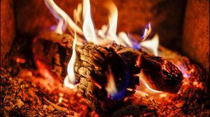 Превью обои костер, дрова, угли, зола, пламя