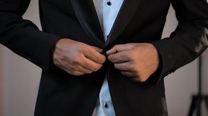 Превью обои костюм, пиджак, рубашка, руки, мужчина