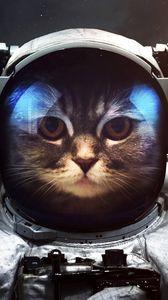 Превью обои кот, космонавт, скафандр, космос