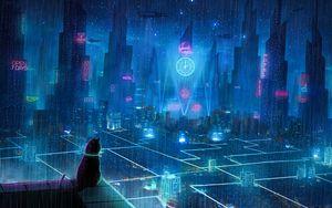 Превью обои кот, крыша, город, неоновые огни, мегаполис, будущее, киберпанк