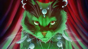 Превью обои кот, магия, арт, шаман