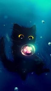 Превью обои кот, милый, шар, цветок, арт