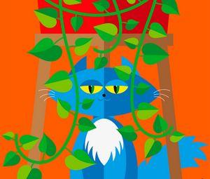 Превью обои кот, питомец, листья, растение, вектор, арт, яркий