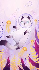 Превью обои кот, пузырь, скафандр, подводный мир, арт