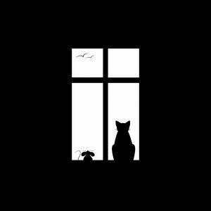Превью обои кот, рисунок, окно, силуэт