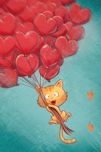 Превью обои кот, воздушные шарики, сердца, полет, небо, арт