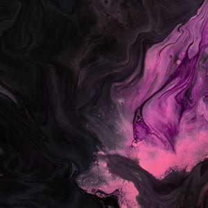 Превью обои краска, разводы, розовый, черный, жидкость