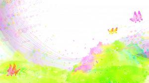 Превью обои краски, брызги, поле, цветы, бабочки