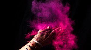 Превью обои краски, холи, руки, красочный