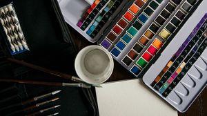Превью обои краски, кисти, художник, акварель