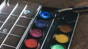 Превью обои краски, палитра, кисточка, художник