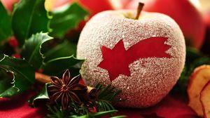 Превью обои красное, dessert, пудра, apple, десерт, макро, звезда, яблоко