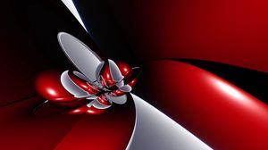 Превью обои красный, форма, свет, линии