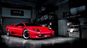 Превью обои красный, гараж, авто, ламборджини