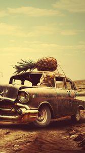 Превью обои креатив, рука, сюрреализм, автомобиль, часы, ананас, кот