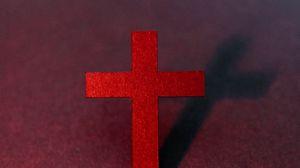Превью обои крест, религия, бог, красный