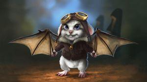 Превью обои кролик, крылья, летучая мышь, летчик