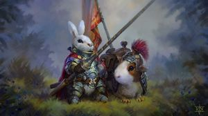 Превью обои кролик, морская свинка, рыцари, арт