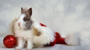 Превью обои кролик, новый год, шар