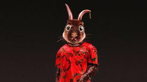 Превью обои кролик, стиль, прикольный, арт