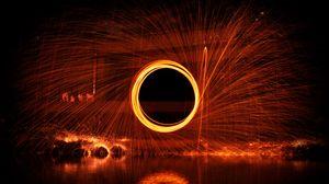 Превью обои круг, движение, искры, свечение