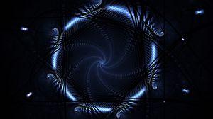 Превью обои круг, синий, неон, свет
