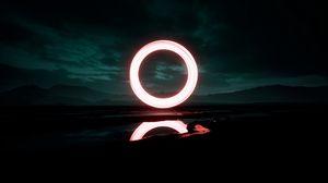 Превью обои круг, свечение, ночь, темнота, отражение