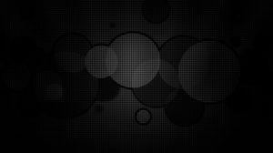 Превью обои круги, фон, сетка, чб, темный