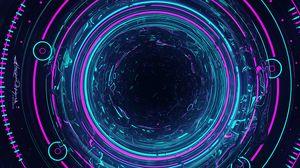 Превью обои круги, свечение, подсветка, голубой, фиолетовый, арт