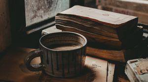 Превью обои кружка, книги, настроение, окно, осень
