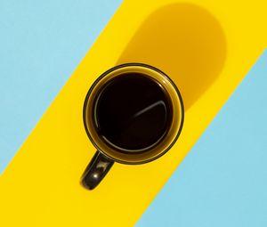 Превью обои кружка, кофе, напиток, полосы, яркий