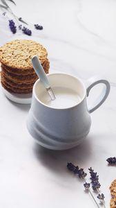Превью обои кружка, молоко, напиток, печенье, десерт