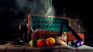 Превью обои крыса, помидор, рюмка, кий, бильярд, доска, шары, венок