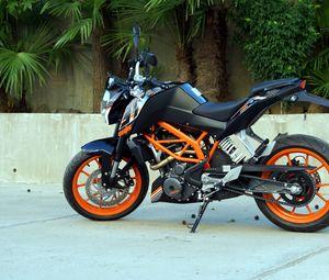 Превью обои ktm, мотоцикл, байк, черный, оранжевый, мото
