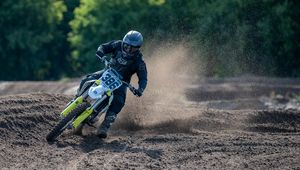 Превью обои ktm, мотоцикл, мотоциклист, ралли, грязь